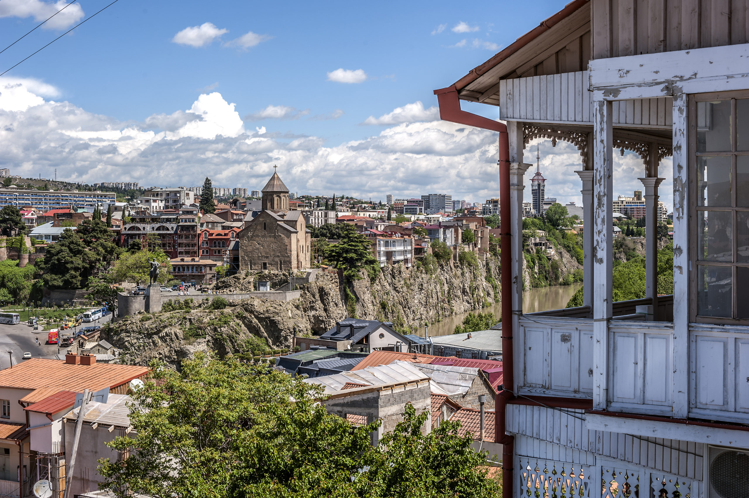 Tbilisi, capital of Georgia. Famous throughout the world Tbilisi balconies in the Old Town. View of the left bank of the Kura River in the district of Avlabari.